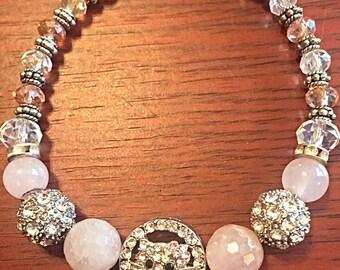 Beaded stretch pink kitty cat bracelet