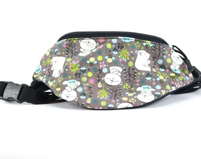 Fanny pack Little Bear fabric - Cute  - Hip Waist Bag for travel, sport, and hiking with 2-zippered compartments