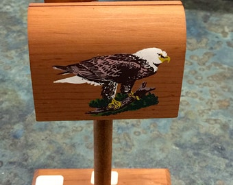 Wooden Mail Box Postage Stamp Holder with Eagle 1970 Era