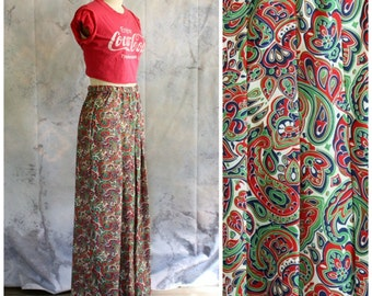 vintage maxi skirt . Christmas paisley maxi skirt . 60s 1970s holiday skirt . womens small medium . red white green paisley print skirt
