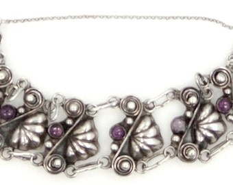 1940s Bernice Goodspeed Taxco Mexico Sterling and Amethysts Bracelet