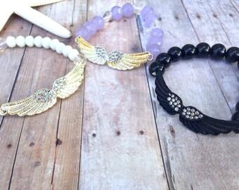 Wings, white, purple, black, beaded bracelet, stackable bracelet, angel wings