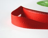 Red Twill Tape .75 Inches Herringbone Pattern Red Ribbon for Gift Wrap or Sewing Notion 5 Yards
