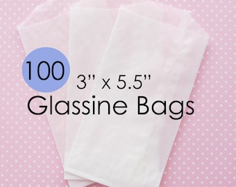 Glassine Bags 3 x 5.5 | 100 Food Grade Waxed Paper Bakery Bags Perfect for Wedding or Party Favor Gift Bags
