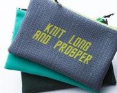 Zipper Bag, Fiber Art Geek, Knit Long and Prosper, Star Trek