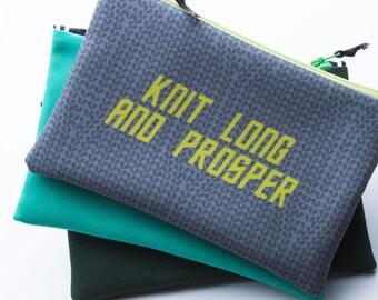 Zipper Bag, Star Trek Knitting, Knit Long and Prosper, Knit Geek