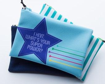 Zipper Bag, Knitting Pun, Knit Super Hero, Notions Bag