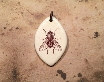 Porcelain Ephemera Pendant with Vintage Image of Housefly