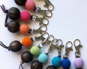 Boho Chic Keychain Zipper Pull Purse Charm with Crocheted and Wooden Bead//Choose Your Color//Handmade Gift for Her Bridemaid Gifts