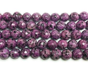 Kiwi Purple Jade Faceted Gemstone Beads