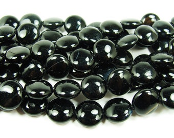 Black Onyx Coin Gemstone Beads