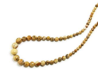 Picture Jasper Faceted Graduated Gemstone Beads
