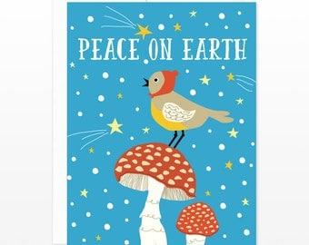 Cute Peace On Earth Card, Bird Holiday Greeting Card, Christmas New Years Card, Happy New Years Card, Winter Solstice Card, Xmas Card