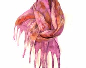 Eco print scarf, Botanical Print scarf, Nuno Felted scarf, Merino wool scarf, scarf in vibrant colors, leaf print, accessories, iona loyola