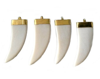 White Bone Tusk Gold Cap Horn Claw Pendant Charm Boho Shaped Jewelry Making Supplies Tusk Wholesale Lot