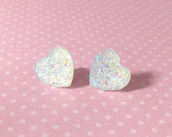 Faux Druzy Heart Earrings, Iridescent Sparkly Earrings, White Heart Earrings, Valentine's Earrings, Rock Star Jewelry, Stainless Steel