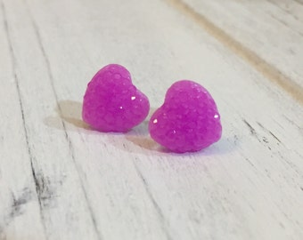 Purple Sparkly Heart Studs, Sparkle Heart Studs, Kawaii Studs, Sugar Coated Candy Heart Studs, Little Heart Studs, Valentine's Day (SE4)