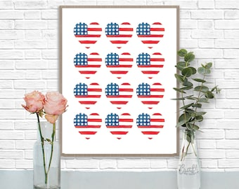 Americana Hearties Digital Print • Patriotic US Heart American Flag Instant Download • Home Decor Wall Art • Printable Artwork