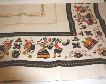 Rectangular vintage home spun fabric tablecloth, Pennsylvania Dutch print tablecloth, vintage tablecloth