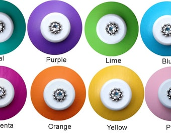 Hand Painted Jeweled Solid Color Childrens Drawer Knobs Pulls Nursery Baby Knobs Dresser Knobs Wood Knobs Solid Color Drawer Knobs