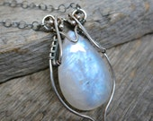Seelie Court necklace ... fine silver / sterling sliver / wire wrapped / rainbow moonstone