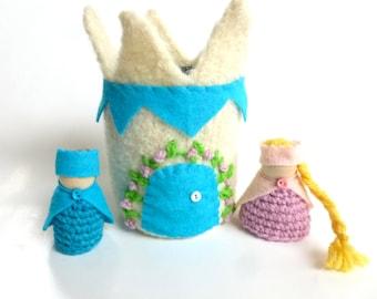 Fairy Princess castle with Prince and Princess wood peg dolls Waldorf