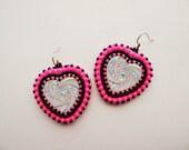 Neon Pink & Black Heart Earrings