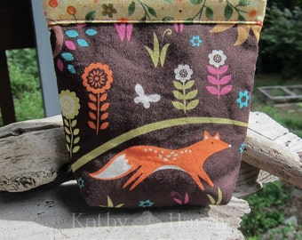 Small Gift Bag | Forest Friends Print Fabric | Cute Animal Fabric Bag | Jewelry Bag | Small Bag | Small Gift Under 15 | Camera Accessory Bag