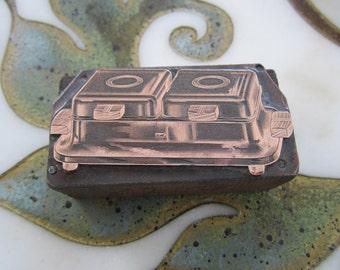 Waffle Iron Vintage Letterpress Printers Block Art Deco
