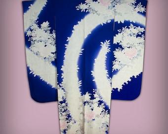 Vintage Dark Purple Silk Japanese Furisode Kimono - Taller Size, Peony Floral Motif, Formal Wear