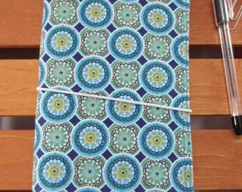 Blue Circles FABdori, Fabric Travelers Notebook- Regular Size; Fauxdori: Midori Style Notebook