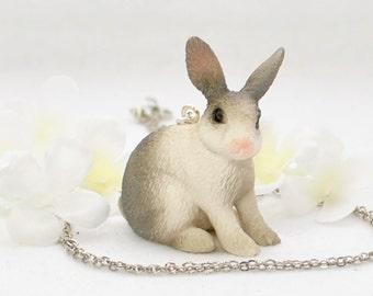 Gray Dutch Bunny Rabbit Necklace Violet - Bunny Necklace - Rabbit Jewelry - Grey White Dutch Rabbit -Pet Bunny -Bunny Jewelry -Bunny Pendant