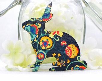 Black Floral Rabbit Brooch Flower - Rabbit Jewelry - Bunny Rabbit Pin - Bunny Brooch - Animal Brooch - Woodland Animal - Bunny Jewelry