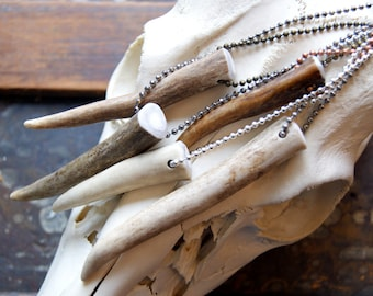 Deer Antler Necklace - antler tip necklace - Real Antler Necklace - Antler Jewelry - Rustic Jewelry - Men - Unisex - bohemian jewelry