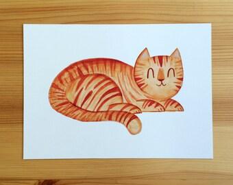 SALE!! Little Tiger Orange Tabby Cat 5x7 Print