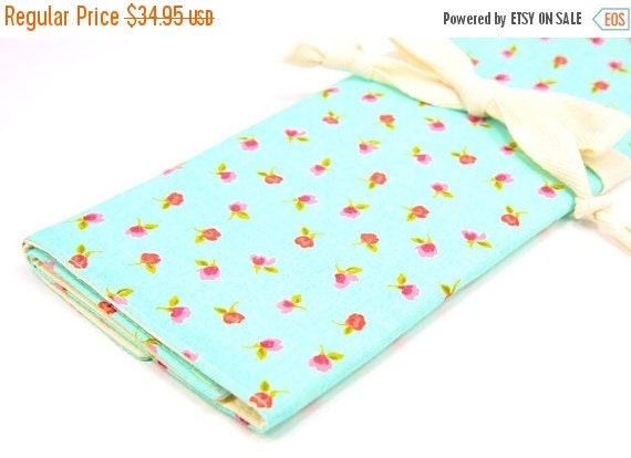 Sale 25% OFF Large Knitting Needle Case Organizer - Dainty Roses on Baby Blue - 30 ivory pockets for straights, double points and circulars