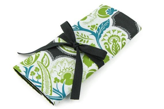 SHORT Knitting Needle Organizer Case - Flourish Twilight - 24 black pockets for circular, double pointed, interchangeable or travel