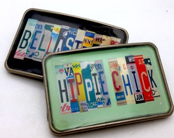 LICENSE PLATE personalized name resin belt buckle with your chosen words custom interchangeable great gift saying monogram team  present