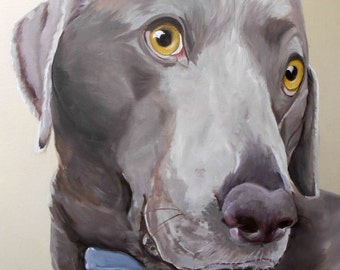"Pet Portrait Oil Painting, 18"" x 24"" Large Sizes on Canvas, Weimaraner Mix or any breed, Custom from Photographs Gift Certificate"