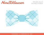 Argyle Bow Tie Clip Art Single - Blue Argyle Bowtie  - Personal and Commercial Use Stock Art
