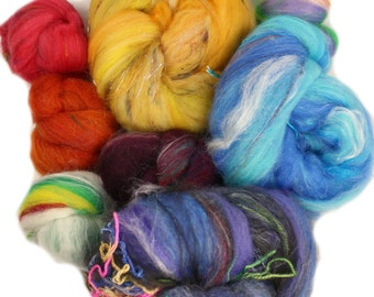 Blind Date batts -- assorted art batts (4 oz.) merino, polwarth wool and assorted luxe add-in fibers  07