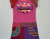 Size 14 (60 inch height) upcycled girls dress with print Whamm!