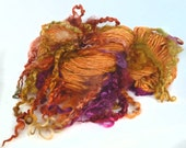 RESERVED for Margery  Art Yarn handspun handdyed Wensleydale locks & Merino wool suri alpaca soysilk
