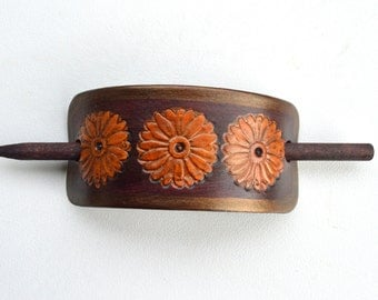 Leather Hair Accessory, Hair Stick, Pony Tail Stick, Brown and Gold with Flowers