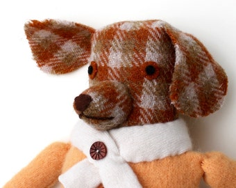 Dog Girl wool doll Red Setter plaid reclaimed fabrics