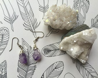 Chunky Amethyst Drop Earrings