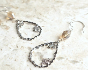 The Yvonne- Champagne Crystal and Silver Pendant Earrings