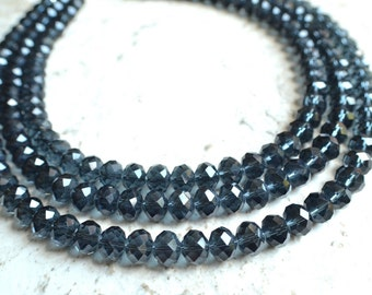 Jennifer - Midnight Blue Crystal Bridesmaid Statement Necklace