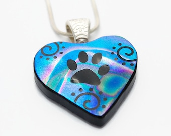 Dog Paw Swirl Pendant, Fused Glass Pendant, Dichroic Glass, Pendant, Etched Glass