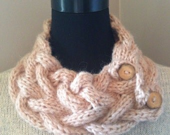 Camel Blush Knitted Cowl, Chunky Cable Neck Warmer with 2 Reclaimed Wood Buttons